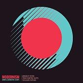 Minimalistic geometric design. Simple figure, form in red color
