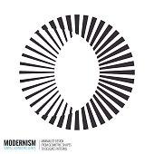 Minimalistic geometric design. Simple figure, form in black white color