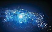 global, globe, abstract, world map, map, traffic, banwidth, transport, shipping, worldwide, access, data, digital, communication, telecoms, network, networking, loading, sending, design, tech, hi tech