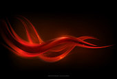 Abstract glow red wave stripe on dark background, fire concept, vector illustration