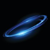 Abstract glowing circular lines in vector