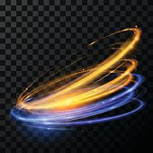 Abstract glowing swirl light in vector