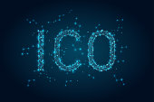 Abstract glowing text ICO initial coin offering background, blockchain business concept. Vector illustration