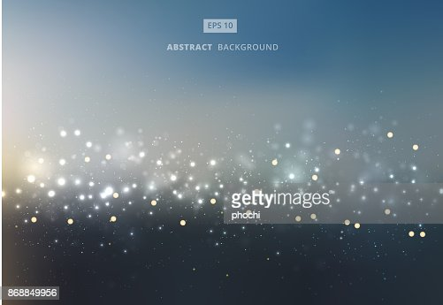 Abstract gold and silver bokeh with sky background. : Vector Art
