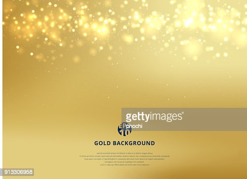 Abstract gold blurred background with bokeh and gold glitter header. : Vector Art