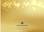Abstract gold blurred background with bokeh and gold glitter header. Copy space. Vector illustration