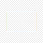 Abstract gold rectangle frame on transparent background