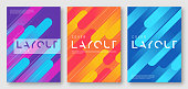 Abstract gradient futuristic geometric cover designs, brochure templates, posters. Vector illustration. Global swatches.