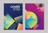 Abstract gradient modern geometric flyer and poster design template background. Use for brochuer, book cover, report, corporate, annual, business, magazine, banner.