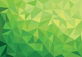 Green abstract geometrical spring background with triangles