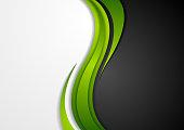 Abstract green black grey wavy background. Modern elegant waves vector graphic design