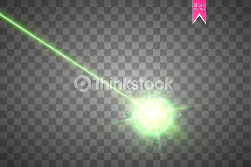 Abstract green laser beam. Laser security beam isolated on transparent background. Light ray with glow target flash. Vector illustration : stock vector