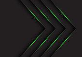 abstract green light arrows direction on black design modern futuristic background vector illustration.