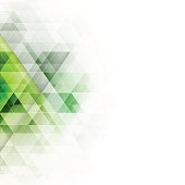 Abstract green triangles geometric background. Vector illustration with place for your content.