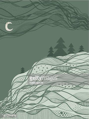 Abstract green winter landscape : Vector Art