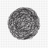 Abstract hand drawn scrawl sketch black color circle tangle, scribble, doodle on grid white background. Vector illustration