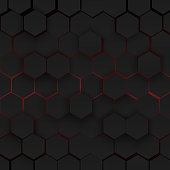 Abstract hexagonal background. Futuristic technology concept. 3d vector illustration. Hex geometry pattern. Carbon cells.