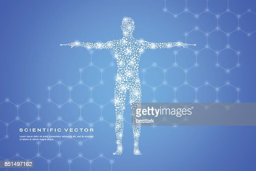 Abstract human body with molecules DNA. Medicine, science and technology concept. Vector illustration : stock vector