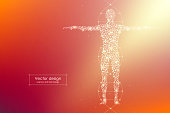 Abstract human body with molecules DNA. Medicine, science and technology concept. Vector illustration.