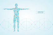 Abstract human body with molecules DNA. Medicine, science and technology concept. Vector illustration