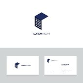 Abstract real estate icon design on business card template, vector illustration