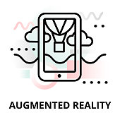 Abstract icon of future technology - augmented reality on color geometric shapes background, for graphic and web design