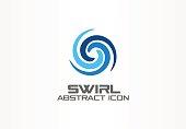 Abstract idea for business company. Corporate identity design element. Eco, nature, whirlpool, spa, aqua swirl symbol. Water spiral, blue circle three segment mix concept. Colorful Vector icon