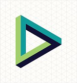 Abstract impossible triangle sign, retro optical effect shape with isometric grid background. EPS10 vector file.
