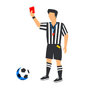 Abstract in blue football referee with red card and ball. Soccer referee Isolated on a white background.  Color illustration in flat style vector illustration