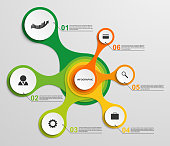 Abstract infographic in the form of metabolic. Design elements. Vector illustration.