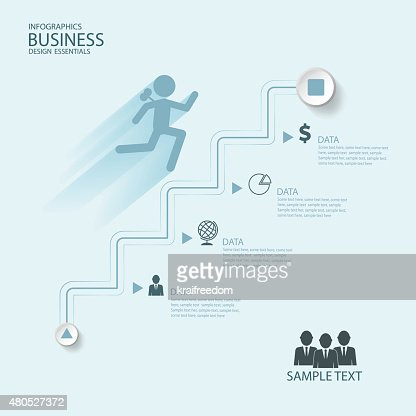 Abstract Infographics business stair step success vector design template. : Vector Art