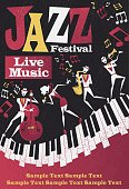 Retro styled Jazz festival Poster featuring an Abstract style illustration of a vibrant Jazz band and super cool lead singer who is striking a stylish pose and playing a musical performance live on st