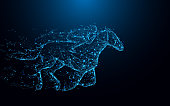 Abstract Jockey on horse form lines and triangles, point connecting network on blue background. Illustration vector