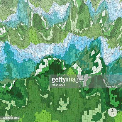 Abstract landscape background. Mosaic. : Vector Art