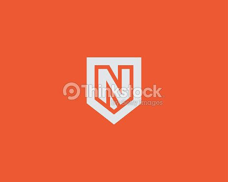 abstract letter n shield logo design template premium nominal