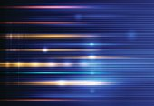 Vector Abstract, science, futuristic, energy technology concept. Digital image of light rays, stripes lines with blue light, speed and motion blur over dark blue background