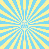 Abstract light yellow and blue sun rays background. Vector.
