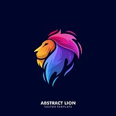 Abstract Lion Illustration Vector Template. Suitable for Creative Industry, Multimedia, entertainment, Educations, Shop, and any related business