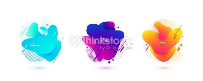 Abstract liquid shape. Fluid design. Isolated gradient waves with geometric lines, dots. Vector illustration : stock vector
