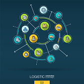 Abstract logistic and distribution background. Digital connect system with integrated circles, flat thin line icons, long shadows. Network interact interface concept. Vector infographic illustration