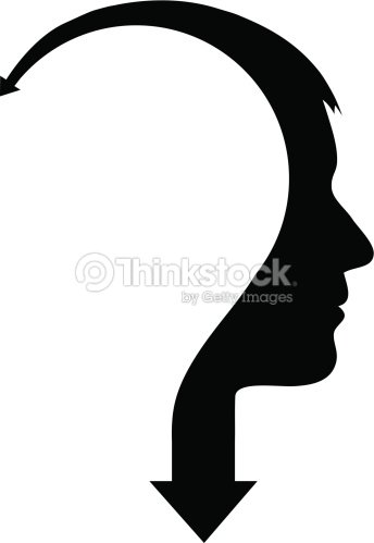 Abstract male head with arrow : stock vector