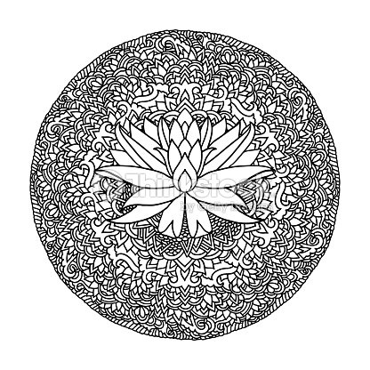 Abstract Mandala Ornament Asian Pattern With Lotus Flower Black And
