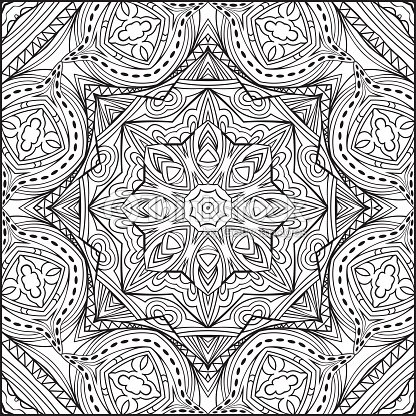 abstract zentangle mandala style black and white ornament vector art
