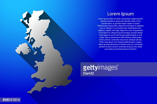 Abstract map of United Kingdom with long shadow on blue background of vector illustration : Vector Art