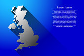 Abstract map of United Kingdom with long shadow on blue background of vector illustration