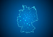 Abstract mash line and point scales on dark background with Map of germany. Wire frame 3D mesh polygonal network line, design sphere, dot and structure. communications map of germany.Vector illustrati