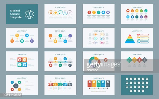 Abstract Medical Sciences infographics presentation slide set with icon in white color background : stock vector