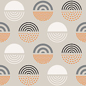 Vector seamless mid century absctract geometric pattern. Retro design.
