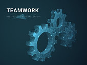 Abstract modern business background vector depicting teamwork with stars and lines in shape of cogwheels on blue background.