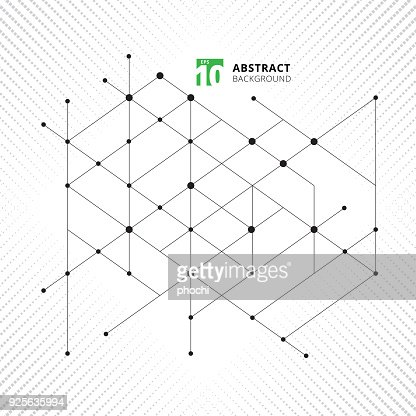 Abstract modern structure geometric pattern lines black technology texture halftone background. Triangles and circles in nodes. : stock vector